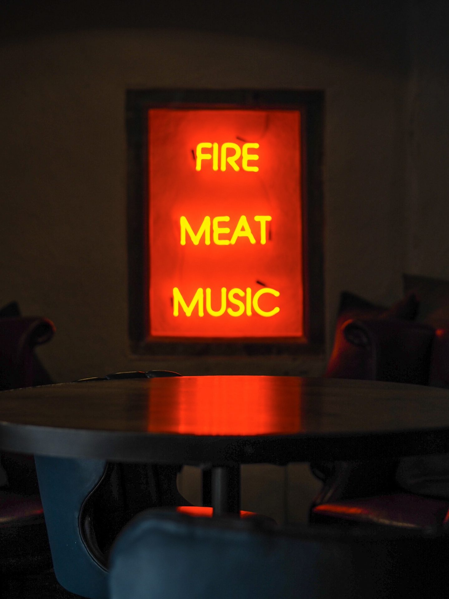 Neon sign at Pasture
