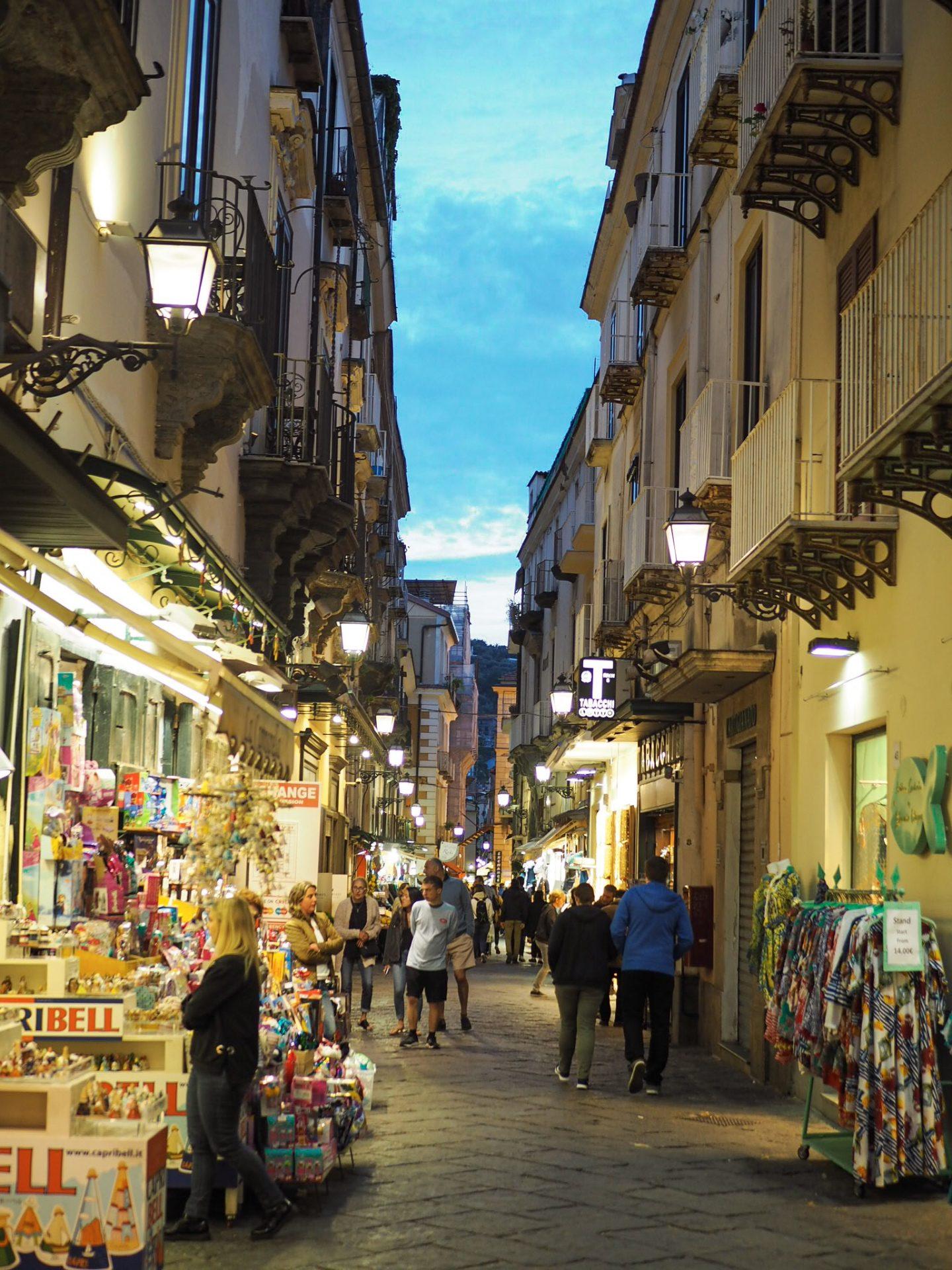 Sorrento travel backstreet at night