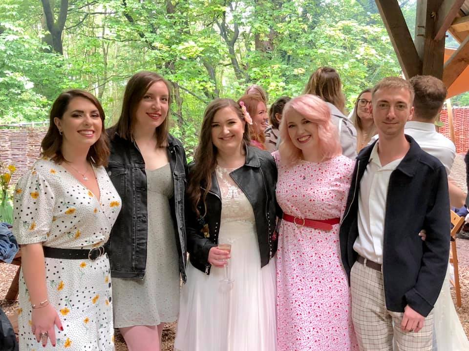 Group of friends at wedding